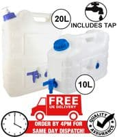WATER CAN CARRIER JERRY CAN CONTAINER FOOD GRADE PLASTIC WITH TAP - 10L 20L